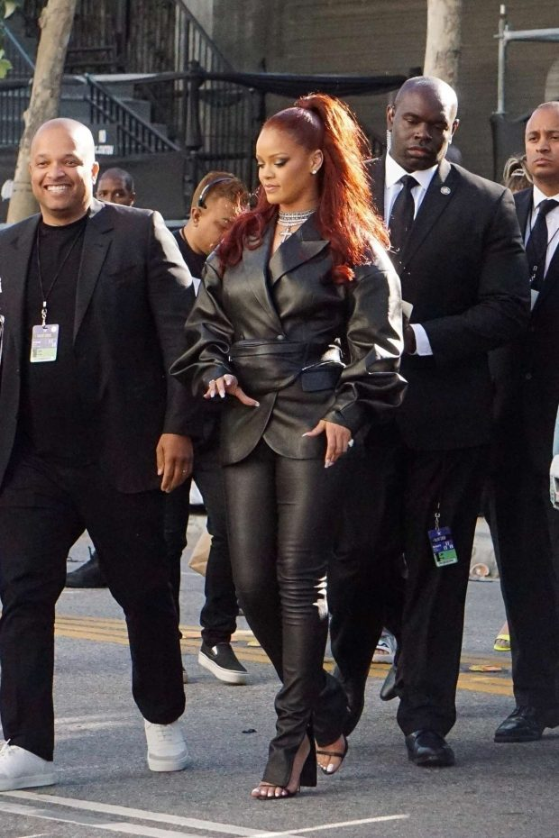 Rihanna in Leather: Arrives at BET Awards-03