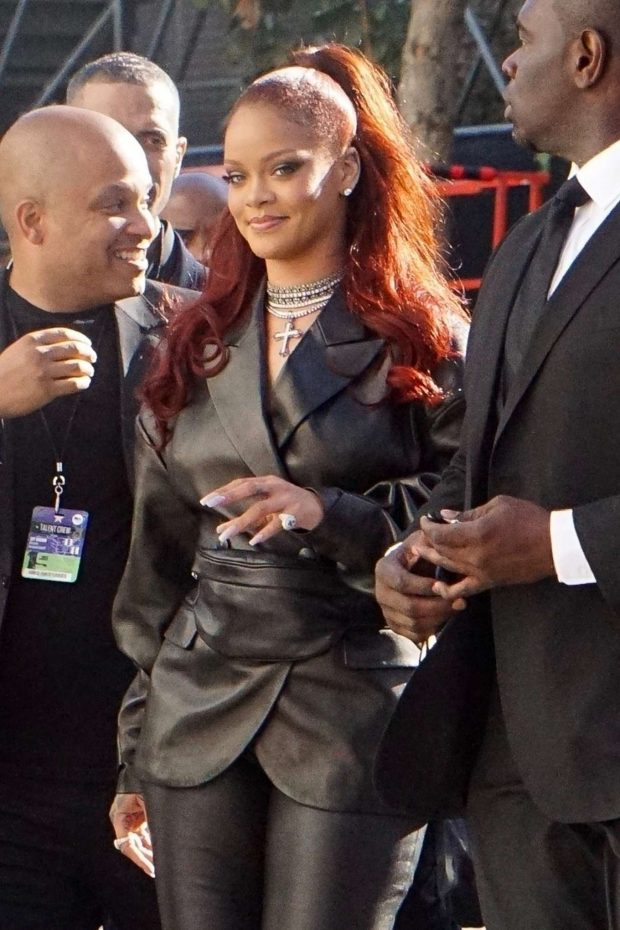 Rihanna in Leather - Arrives at BET Awards in Los Angeles