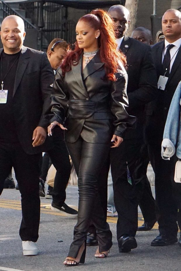 Rihanna in Leather: Arrives at BET Awards-12