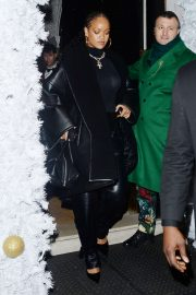 Rihanna - In Leather Arriving at Annabels Private members club in London