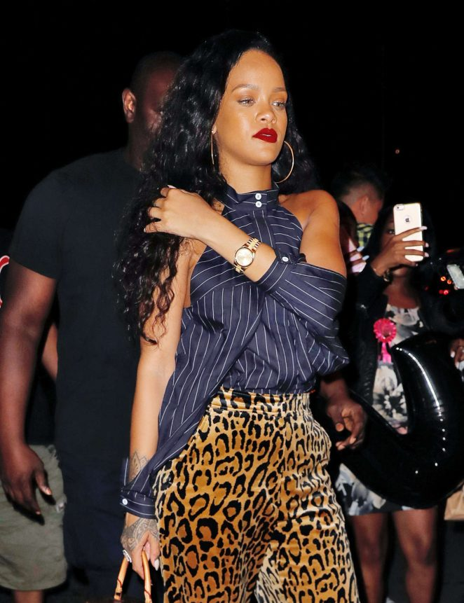 Rihanna in Leopard Print Pants out in New York City