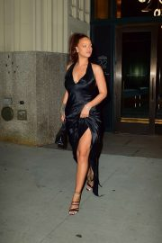 Rihanna in Long Black Dress - Heads to a party in New York