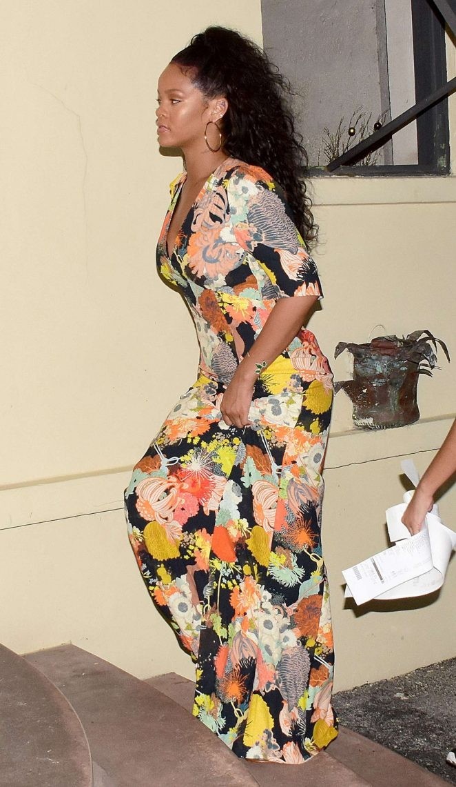 Rihanna in Long Dress Heads to dinner in Barbados