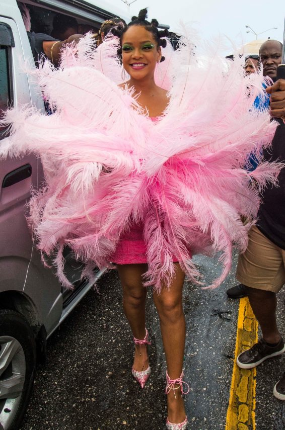 Rihanna in Pink at 'Kadooment Day' Parade in St. Michael Parish