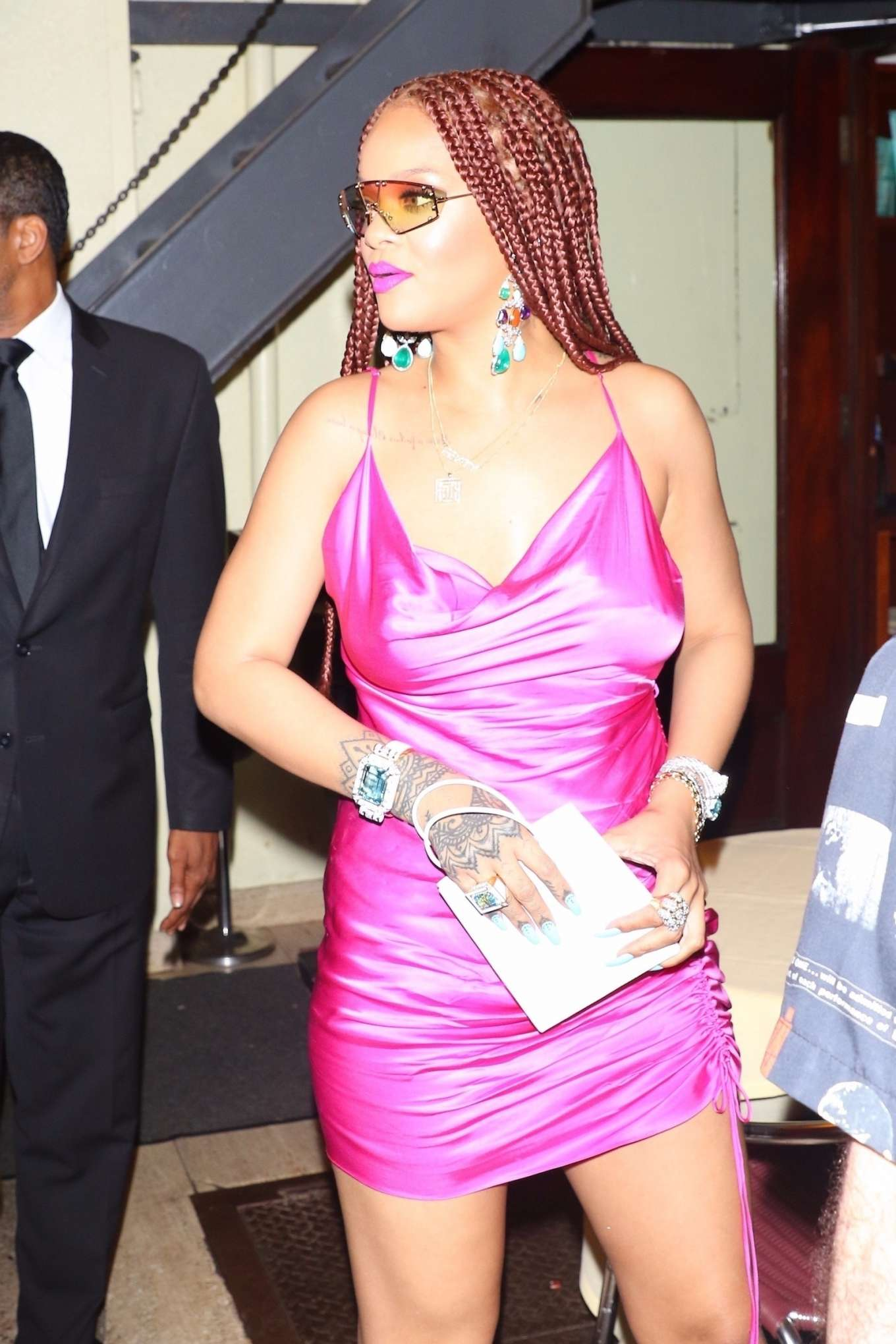 Rihanna In Pink Dress Arrives At Cipriani In New York