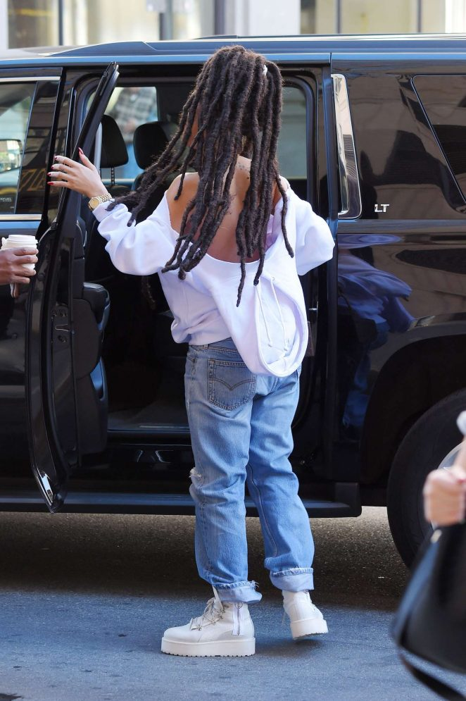 Rihanna in Ripped Jeans in NYC -02