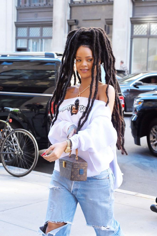 Rihanna in Ripped Jeans in NYC
