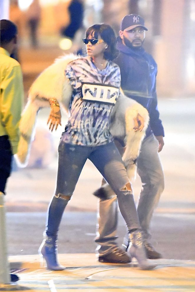 Rihanna in Ripped Jeans out in NY