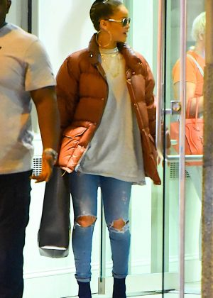 Rihanna in Ripped Jeans out in NYC