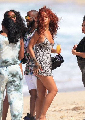Rihanna in Short Jumpsuit on the beach in Hawaii