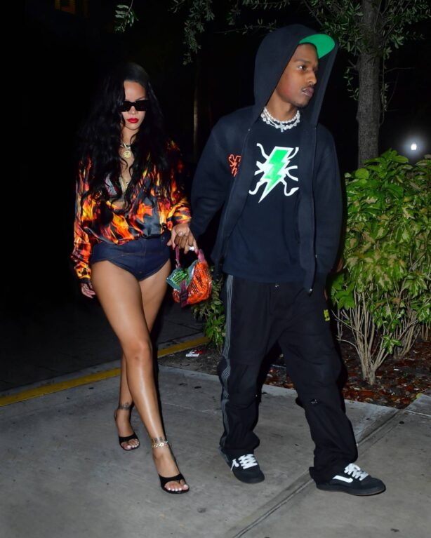 Rihanna - In short pants with ASAP Rocky seen during Miami date night