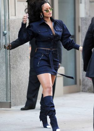 Rihanna in Short Skirt out in New York