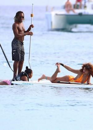 Rihanna in Orange Swimsuit -02