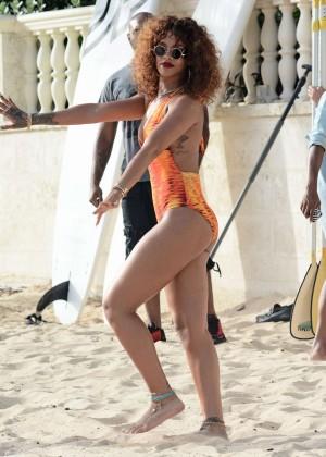 Rihanna in Orange Swimsuit -08