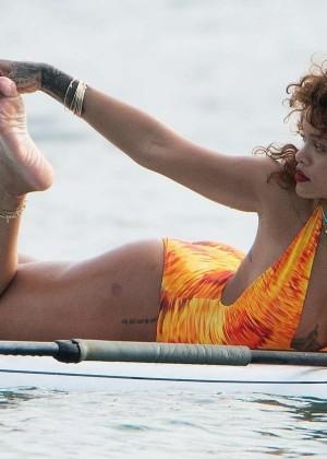 Rihanna in Orange Swimsuit -17