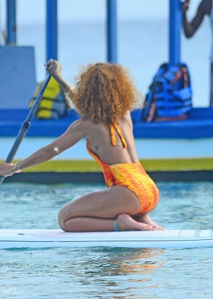 Rihanna in Orange Swimsuit -22