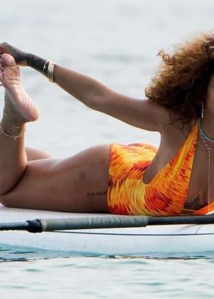 Rihanna in Orange Swimsuit -24