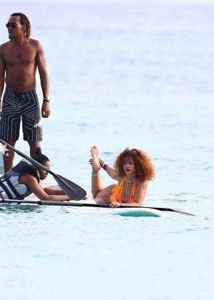 Rihanna in Orange Swimsuit -34