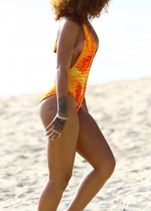 Rihanna in Orange Swimsuit -35