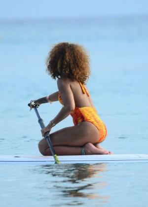 Rihanna in Orange Swimsuit -39