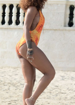 Rihanna in Orange Swimsuit -52