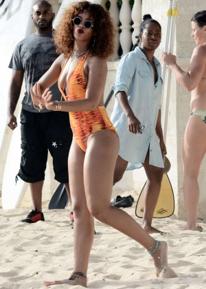 Rihanna in Orange Swimsuit -53