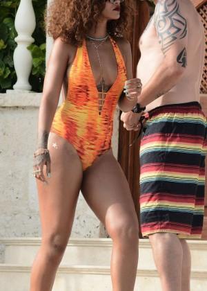 Rihanna in Orange Swimsuit -58