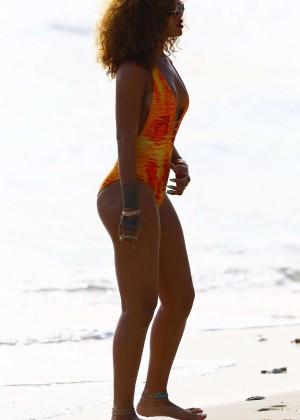 Rihanna in Orange Swimsuit -60