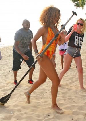 Rihanna in Orange Swimsuit -64