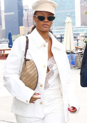 Rihanna in White - Leaves Anable Basin Sailing Bar in New York