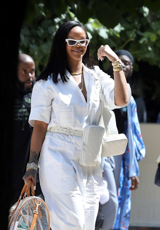 Rihanna in White - Out in Paris