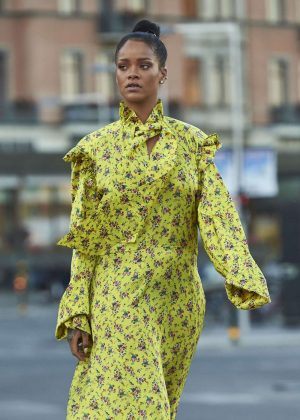 Rihanna in Yellow Dress out in Stockholm