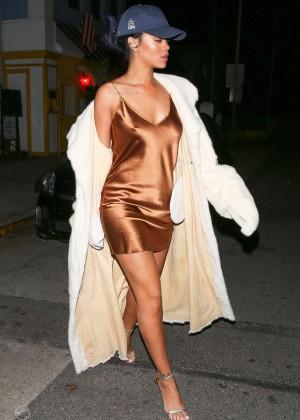 Rihanna in Short Mini Dress Leaving Giorgio Baldi Restaurant in LA