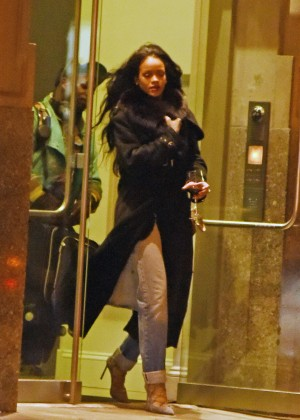 Rihanna in Jeans Leaving her apartment in NYC