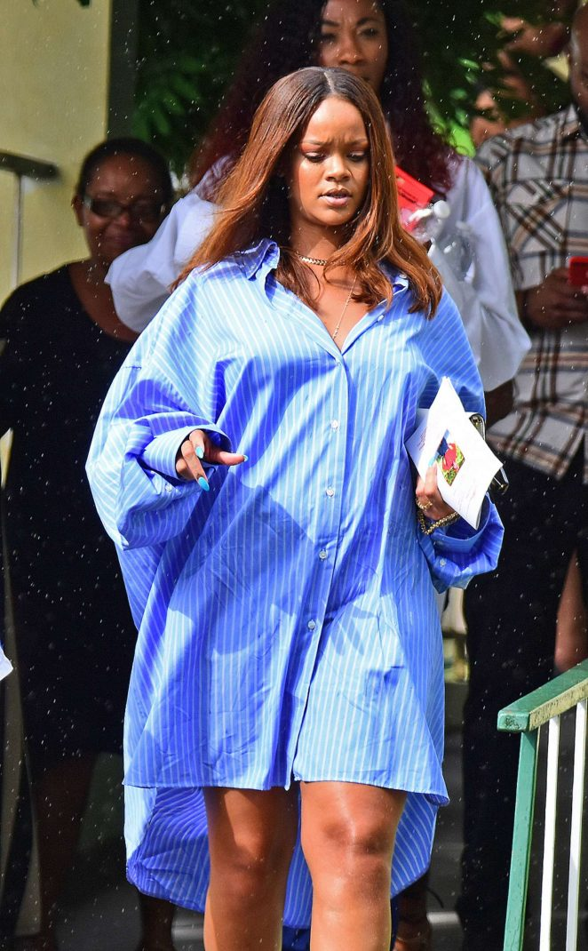 Rihanna - Leaving the funeral in Barbados