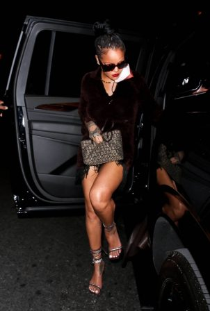 Rihanna - Night out in a brown fringe mini dress and strappy heels at Delilah in West Hollywood