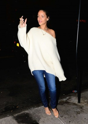 Rihanna Night in Jeans and White Sweater Out in New York City