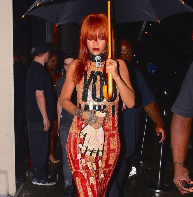 Rihanna in Tight Dress Out in New York City