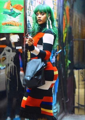 Rihanna on a photoshoot in East Village