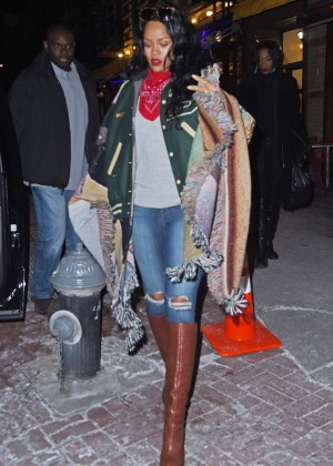 Rihanna in Poncho and jeans Out in NYC