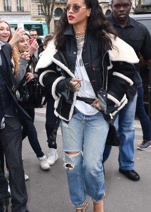 Rihanna in ripped jeans out in Paris