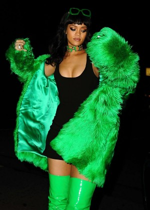Rihanna in Green Coat Out for dinner in LA