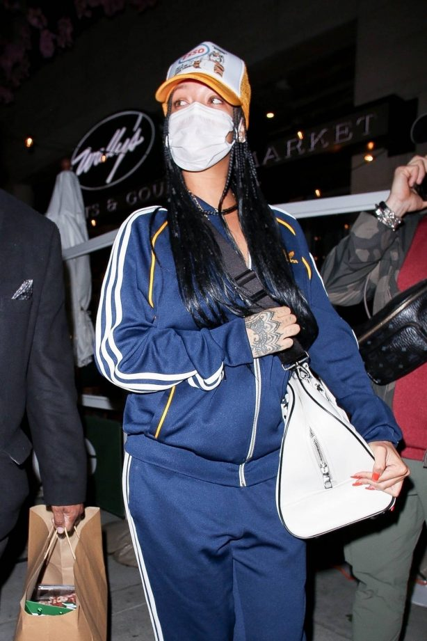 Rihanna - Out the Adidas tracksuit in Beverly Hills