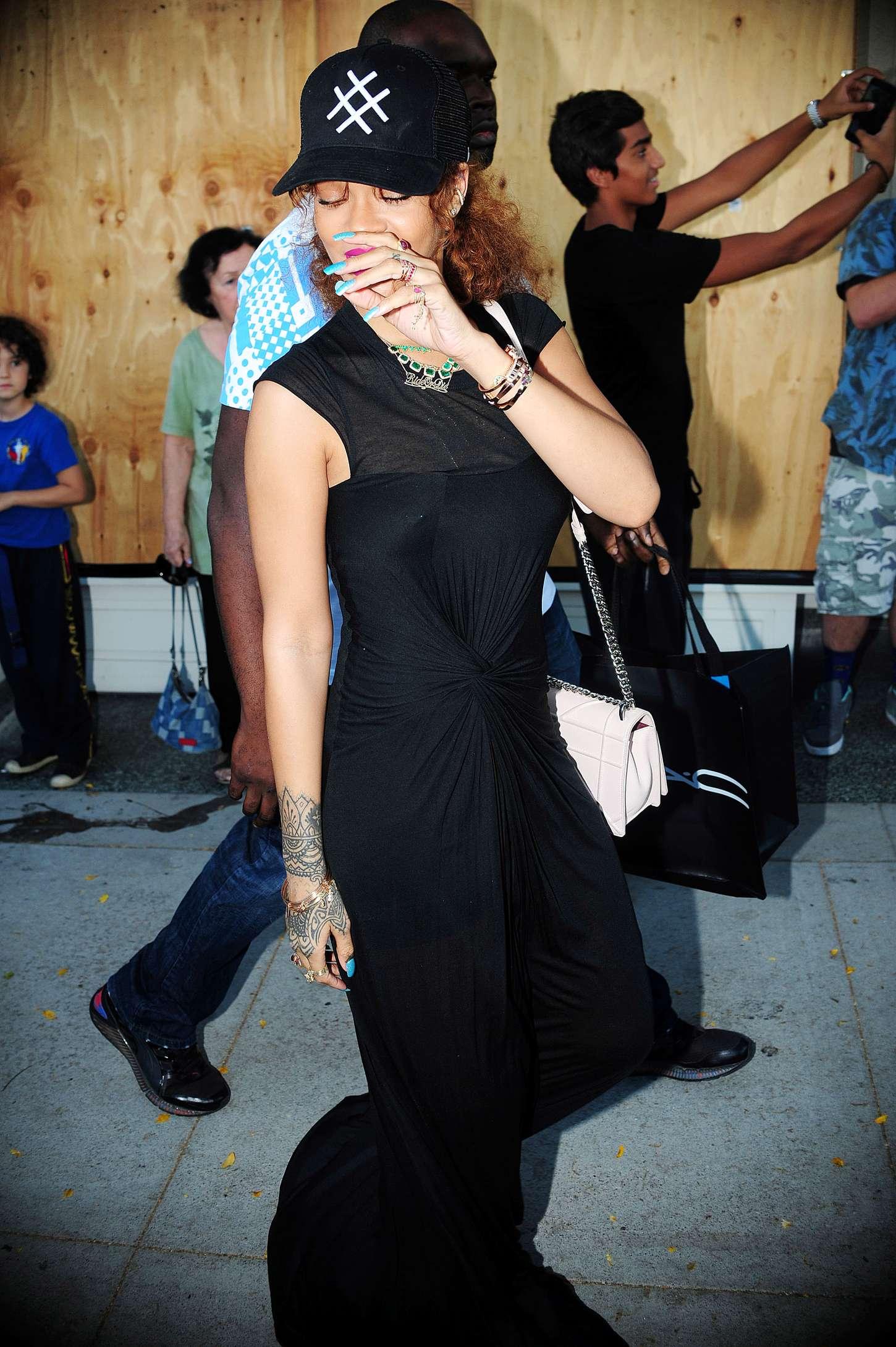 Rihanna in Black Dress -18 - GotCeleb