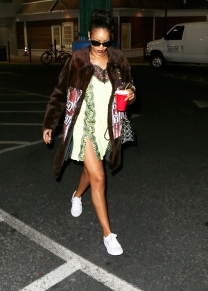 Rihanna in Mini Dress out in NYC