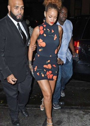 Rihanna in Floral Mini Dress Up and Down Nightclub in NYC