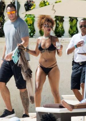 Rihanna in Black Bikini -15