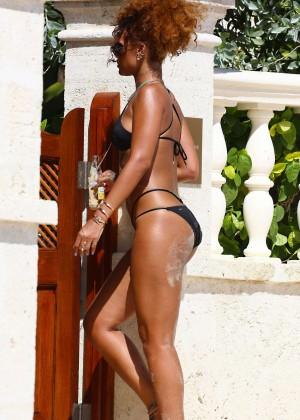 Rihanna in Black Bikini -16