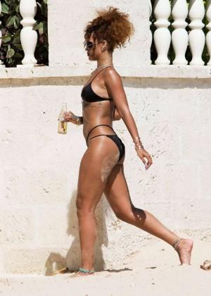 Rihanna in Black Bikini -17