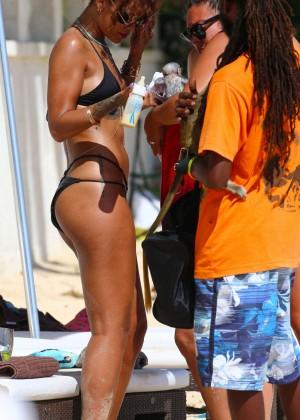 Rihanna in Black Bikini -19